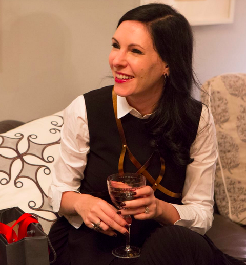 Jill Kargman drinks Cayman Cabernet at home in New York City