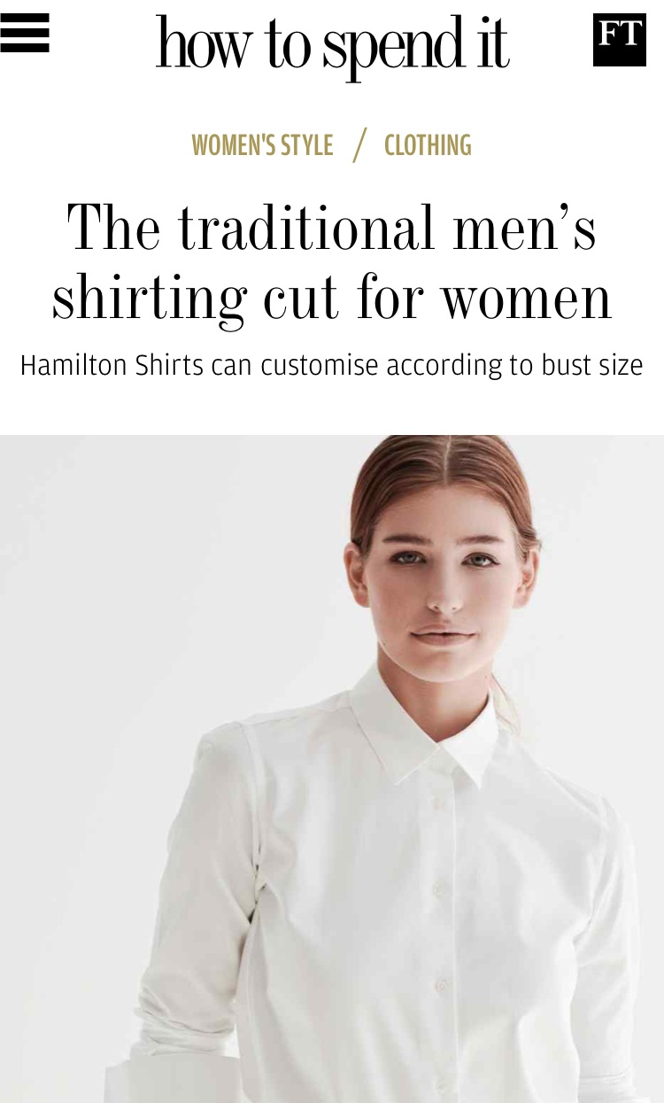 Hamilton Shirts bespoke shirting for women