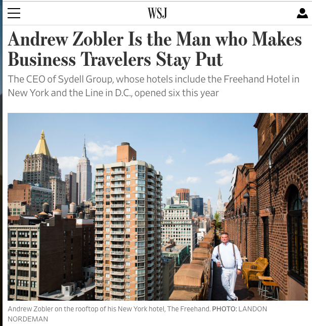 Andrew Zobler profile in the WSJ Wall Street Journal
