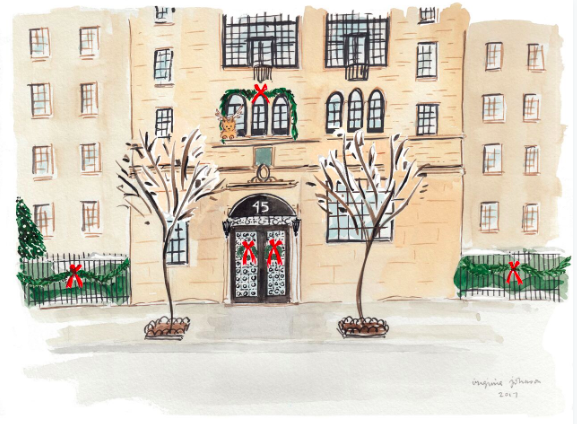 Virginia Johnson illustration of NYC townhome