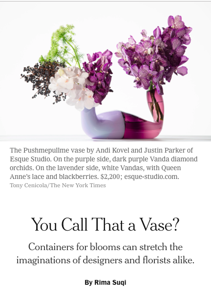 Pushmepullme vase by Esque Studio for the New York Times, Rima Suqi