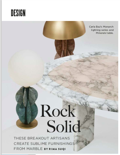 Galerie Magazine, Designers working in Marble, Carla Baz, Francesco Meda, Ben Storms