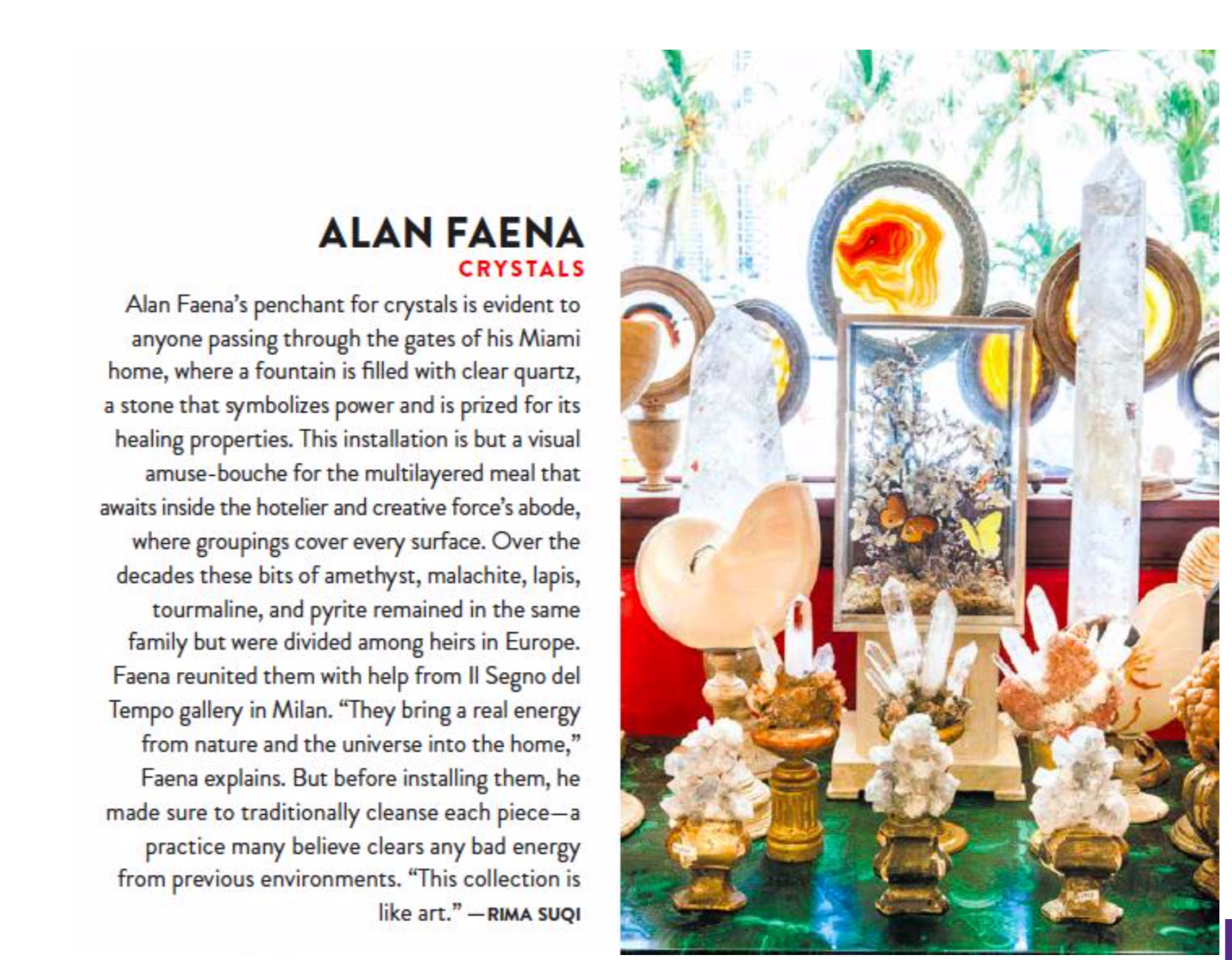Alan Faena crystal collection, Galerie Magazine, Rima Suqi
