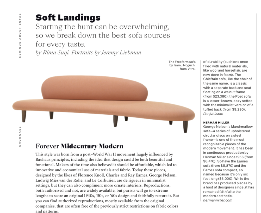 Departures Magazine, Sofa Encyclopedia, Sofa Master Class, How To Buy a Sofa, Luxury sofas, Rima Suqi