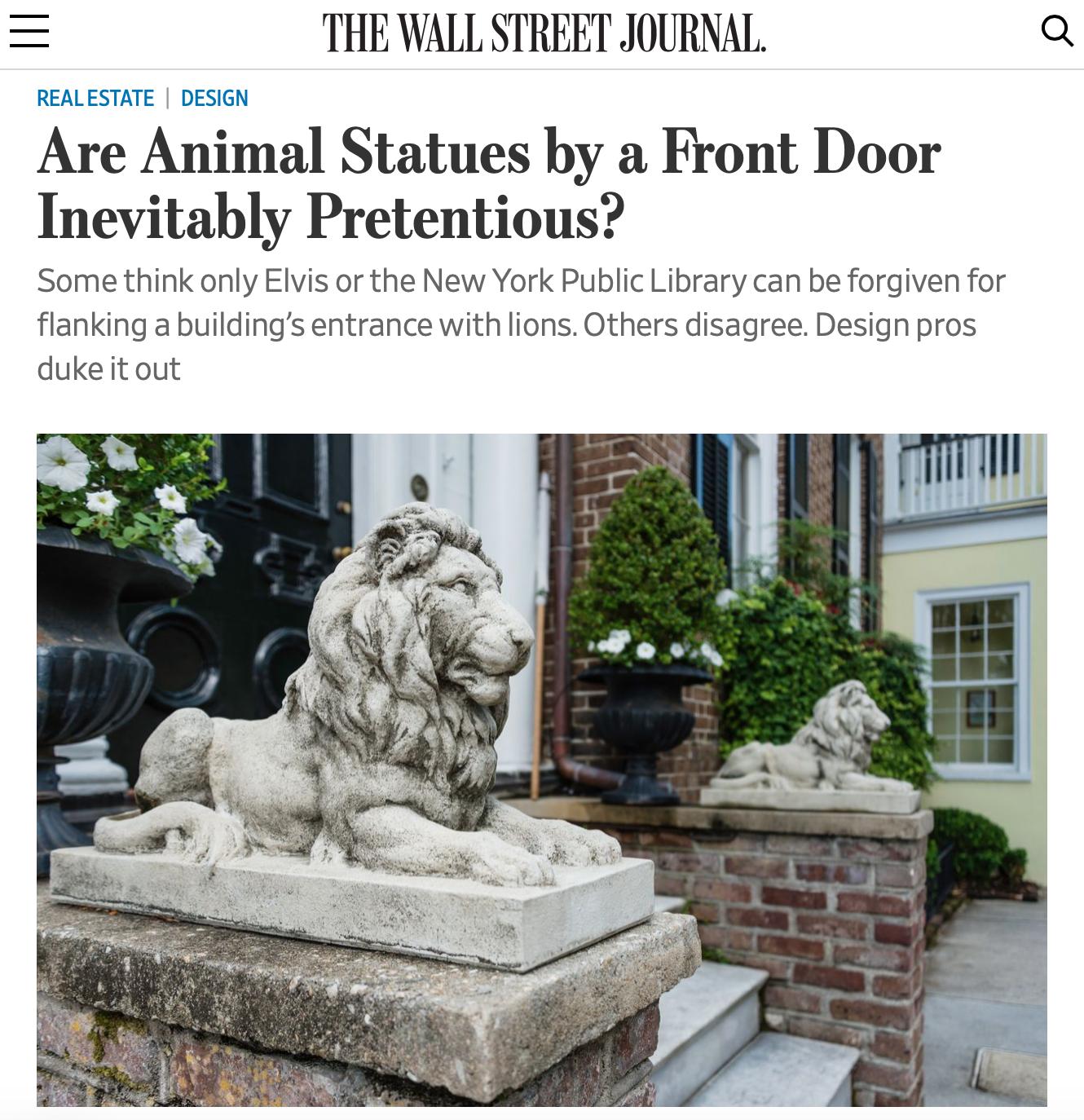 Wall Street Journal, Off Duty, Rima Suqi, Garden statues animals