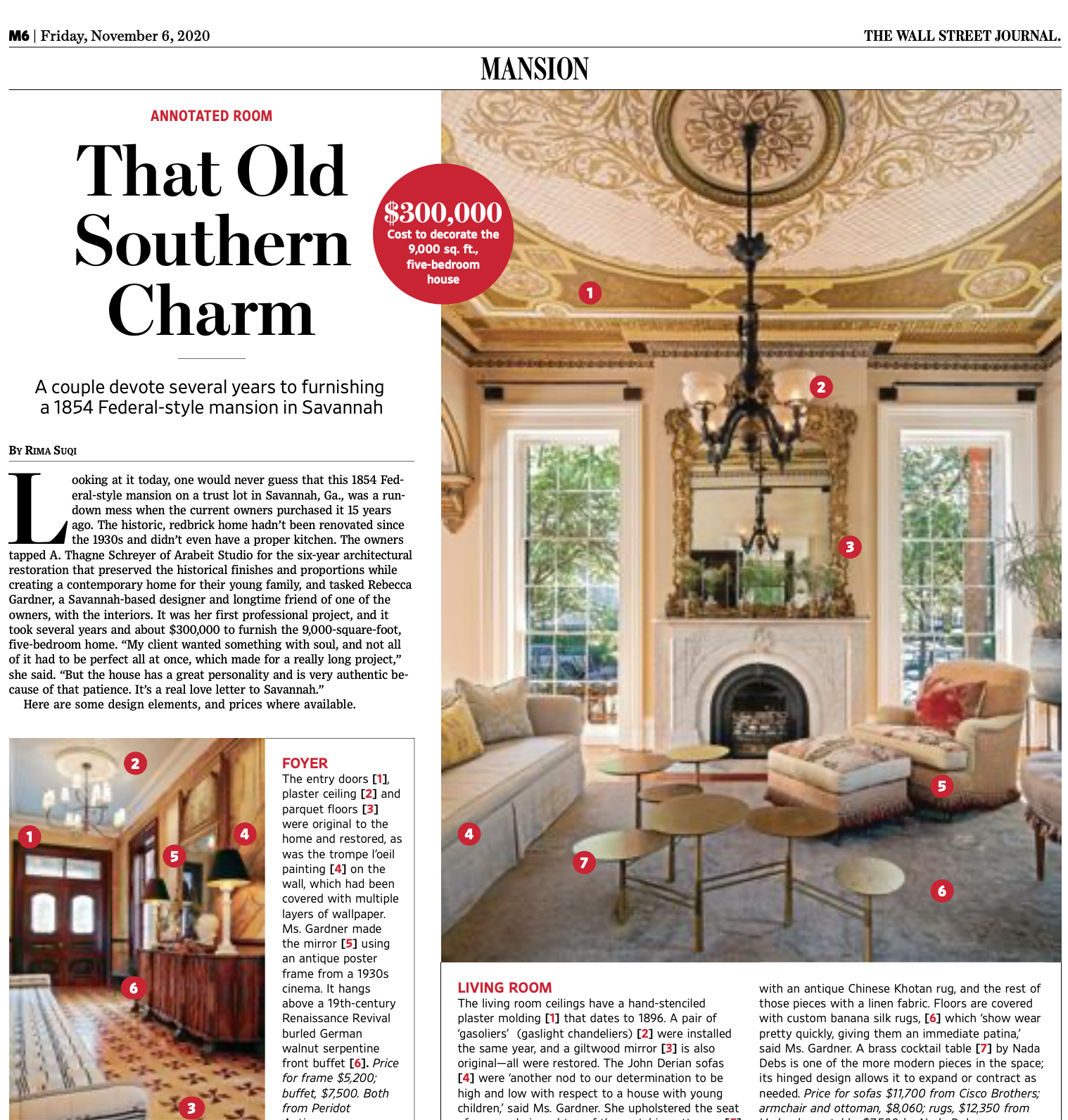 Rebecca Gardner interiors, Savannah, Wall Street Journal