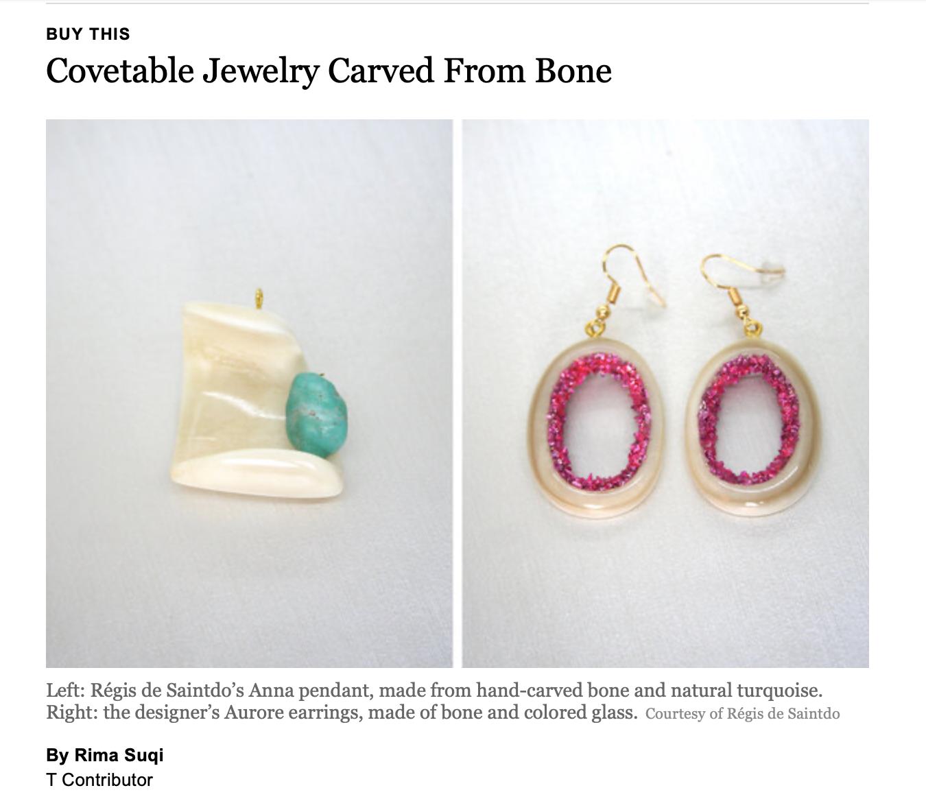 Regis de Saintdo earrings, pendant necklace, NYT Rima Suqi
