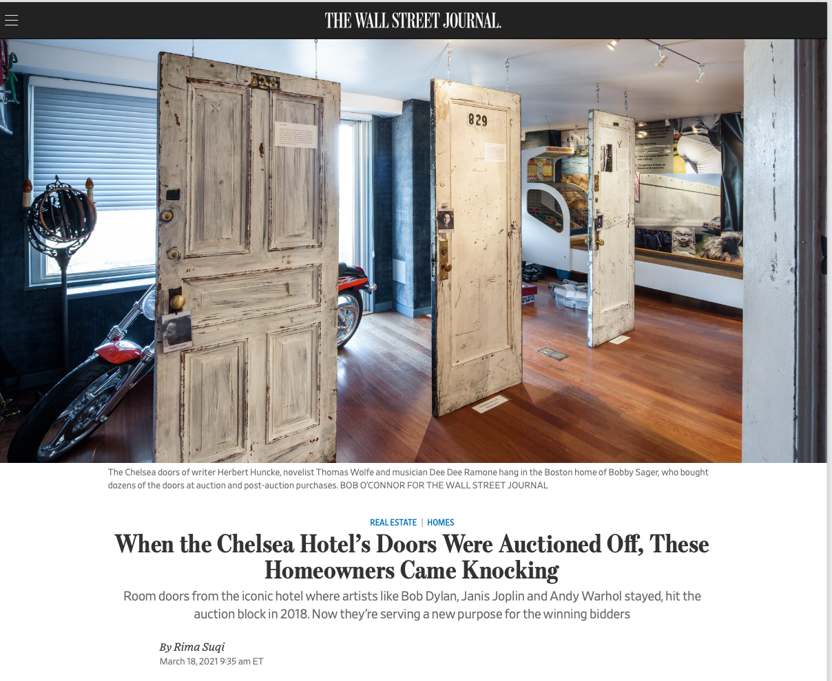 Bobby Sager, Rima Suqi, Chelsea Hotel, Wall Street Journal, Mansion section